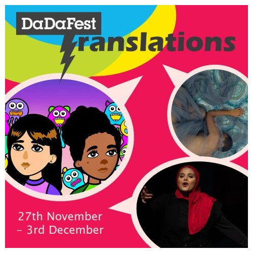 Colourful advert for festival featuring speech bubbles with artist images inside them and the word Translations