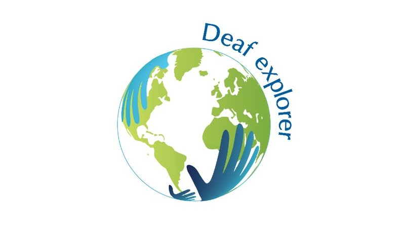 Deaf Explorer logo - illustration of planet Earth with a pair of hands holding it from below