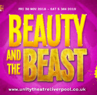 A graphic with the words Beauty and the Beast in golden letters on a vibrant purple background.