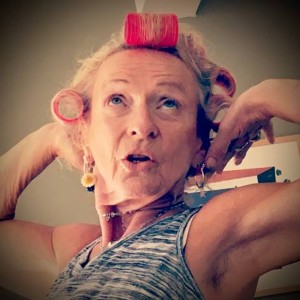 Women with her hair in curlers