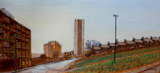 Everton Heights, looking North 1968 in black felt pen, acrylc & oil pastel, on smooth unprimed hardboard