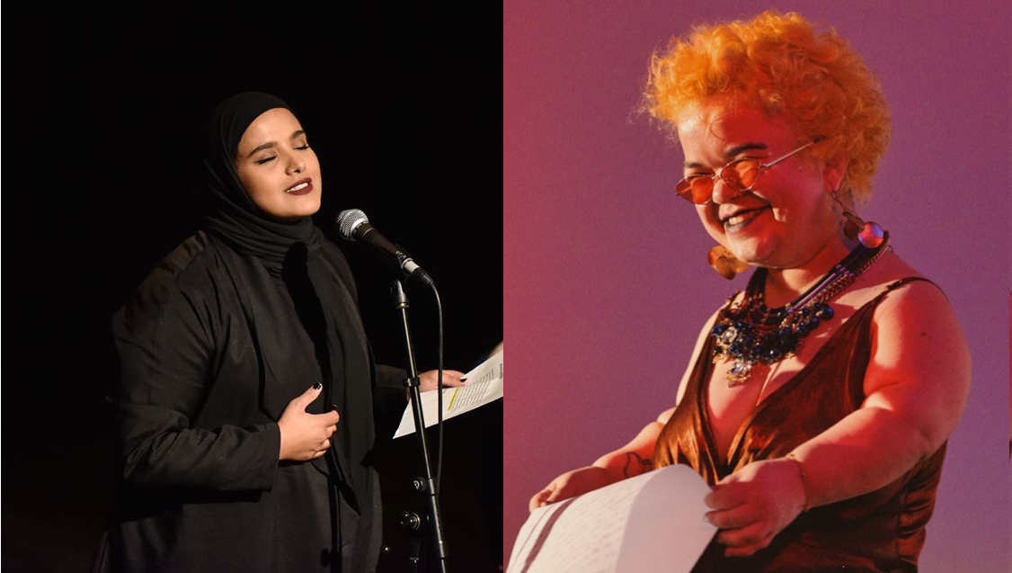 Two images side by side, one of Amina Atiq and the other of Tammy Reynolds. Both are reading from pages into microphones.