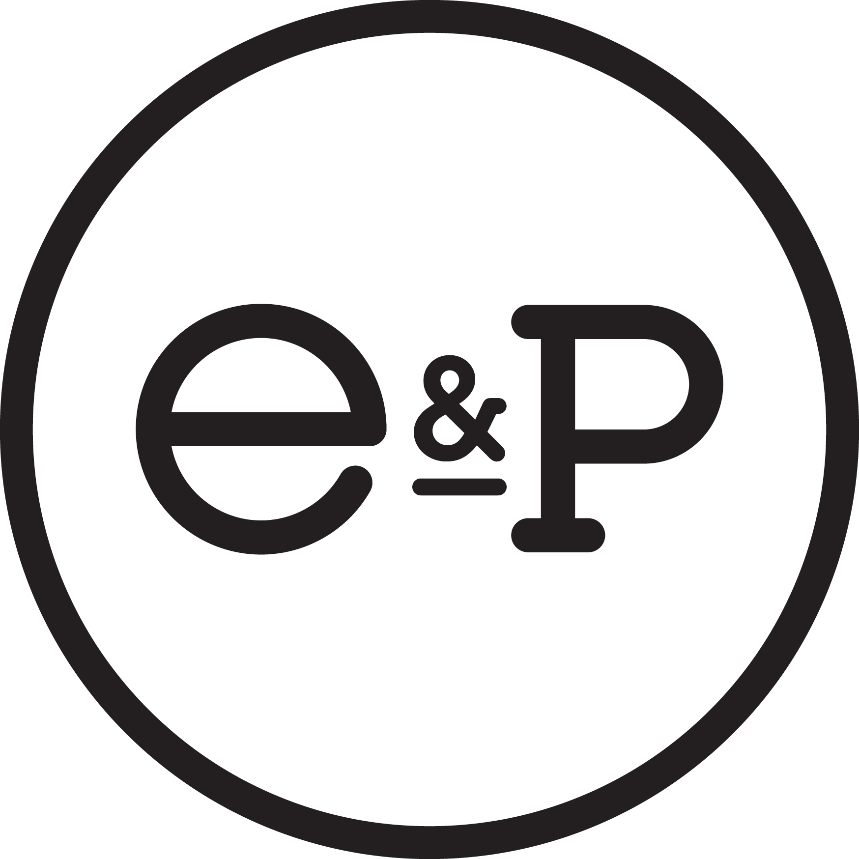 Circle logo with a letter E and P in the centre